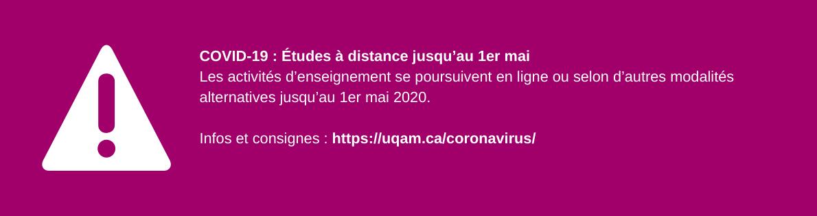 COVID-19 : Études à distance jusqu'au 1er mai